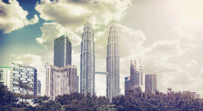 Retro vintage filtered picture of Kuala Lumpur skyline Royalty Free Stock Image