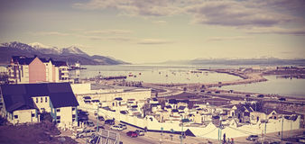 Retro vintage filtered picture of Ushuaia. Royalty Free Stock Photo