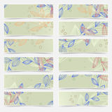 Retro vintage floral pattern card header set Royalty Free Stock Photography