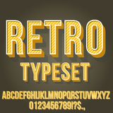 Retro Vintage Font. Retro Gold Yellow Colored Vintage Text 3D Effects, Font Typeset Vector lettering set Stock Photos