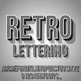 Retro Vintage Font. Retro Gray and Black Vintage Text 3D Effects, Font Typeset Vector lettering set Stock Image