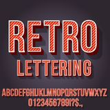 Retro Vintage Font. Retro Red Colored Vintage Text 3D Effects, Font Typeset Vector lettering set Stock Photo
