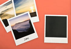 Retro vintage four instant photo frames cards on red background with images of nature Royalty Free Stock Photography