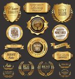 Retro vintage golden badges collection vector illustration Royalty Free Stock Photos