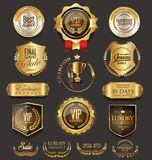 Retro vintage golden badges collection vector illustration Royalty Free Stock Photo