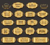 Retro vintage golden badges collection vector illustration Royalty Free Stock Image