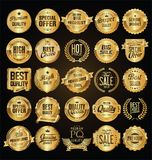Retro vintage golden badges and labels collection. Retro vintage golden badges and labels set Royalty Free Stock Photo