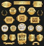 Retro vintage golden badges and labels vector collection. Retro vintage golden badges and labels vector set Stock Image