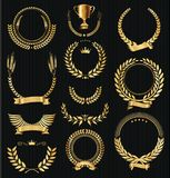 Retro vintage golden laurel wreaths collection vector. Retro vintage golden laurel wreaths collection stock illustration