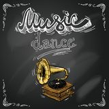 Retro vintage gramophone poster Royalty Free Stock Photos