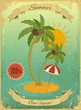 Retro Vintage Grunge Summer Vacation Postcard Royalty Free Stock Image