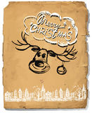 Retro Vintage Hand Drawn congratulation Christmas Greeting Card Stock Photography