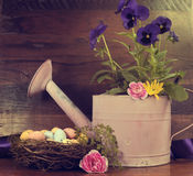 Retro Vintage Happy Easter or Springtime scene Royalty Free Stock Photo