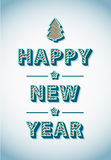 Retro Vintage Happy New Year Greeting Card. Illustration Stock Photos