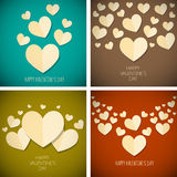 Retro vintage happy valentines day background set Royalty Free Stock Image