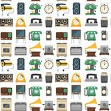 Retro vintage household appliances vector kitchenware seamless pattern royalty free illustration