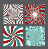 Retro vintage hypnotic background set. vector Royalty Free Stock Image