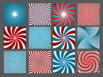 Retro vintage hypnotic background set. vector Stock Images