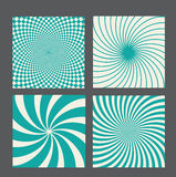 Retro vintage hypnotic background set. vector Stock Image