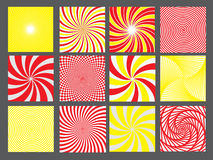 Retro vintage hypnotic background set. vector Royalty Free Stock Images