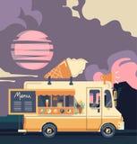 Retro vintage ice cream truck. Vector van illustration. Retro vintage ice cream truck Royalty Free Stock Photo