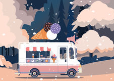 Retro vintage ice cream truck. Vector van illustration. Retro vintage ice cream truck Stock Photos