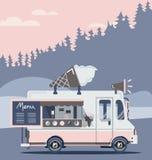 Retro vintage ice cream truck. Vector van illustration. Retro vintage ice cream truck Royalty Free Stock Image