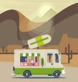 Retro vintage ice cream truck. Vector van illustration. Retro vintage ice cream truck Stock Photography
