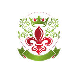 Retro vintage Insignia created with lily flower and imperial   Royalty Free Stock Image