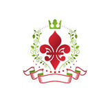 Retro vintage Insignia created with lily flower and imperial   Royalty Free Stock Photos