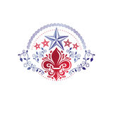 Retro vintage Insignia created with lily flower and pentagonal s. Tars. Vector product quality idea design element, Fleur-De-Lis Stock Photos