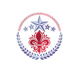 Retro vintage Insignia created with lily flower and pentagonal s. Tars. Vector product quality idea design element, Fleur-De-Lis Royalty Free Stock Photos