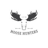 Retro Vintage Insignia or Logotype Vector design element, business sign template. Deer hunting. Hunting for elk. Moose hunting. Royalty Free Stock Images