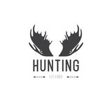 Retro Vintage Insignia or Logotype Vector design element, business sign template. Deer hunting. Hunting for elk. Moose hunting. Royalty Free Stock Photos
