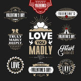 Retro Vintage Insignias or Logotypes set for st.Valentine's day. Royalty Free Stock Image