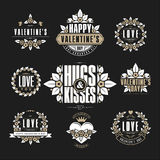 Retro Vintage Insignias or Logotypes set for Valentine's day. Royalty Free Stock Photography