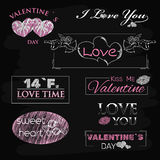 Retro Vintage Insignias or Logotypes set for. Valentines day on chalk board. Vector tags, calligraphic and typographic elements, signs, logos, labels, badges Stock Photography