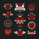 Retro Vintage Insignias or Logotypes set for Valentines day. Vec Royalty Free Stock Image