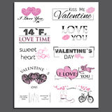 Retro Vintage Insignias or Logotypes set for. Valentines day. Vector tags, calligraphic and typographic elements, signs, logos, labels, badges and objects Stock Photography