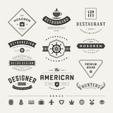 Retro Vintage Insignias or Logotypes set vector Stock Photography
