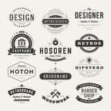 Retro Vintage Insignias or Logotypes set vector Stock Images