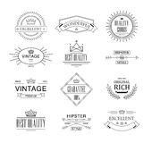 Retro Vintage Insignias or Logotypes set. Vector design elements, business signs, logos, identity, labels, badges Stock Images