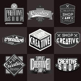 Retro Vintage Insignias or Logotypes set Royalty Free Stock Photos