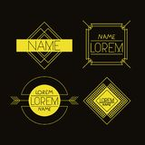 Retro vintage insignias sketch set in black background and yellow lines. Vector illustration vector illustration