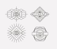 Retro vintage insignias sketch set in monochrome silhouette. Vector illustration stock illustration