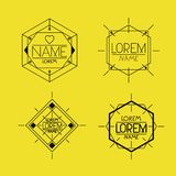 Retro vintage insignias sketch set in monochrome silhouette in yellow background. Vector illustration stock illustration