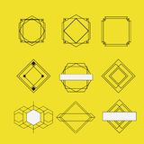 Retro vintage insignias sketch set in monochrome silhouette on yellow background. Vector illustration vector illustration