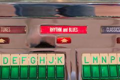Retro vintage jukebox record player: rhythm and blues sign Royalty Free Stock Photos