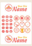 Retro Vintage Knit Web icons Stock Photo
