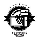 Retro vintage label computer protection stamp Royalty Free Stock Photos
